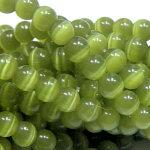 9507 - 8mm Round Smooth Cat's Eye - Lime
