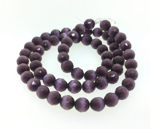 9503 - 8mm Round Faceted Cat's Eye - Amethyst