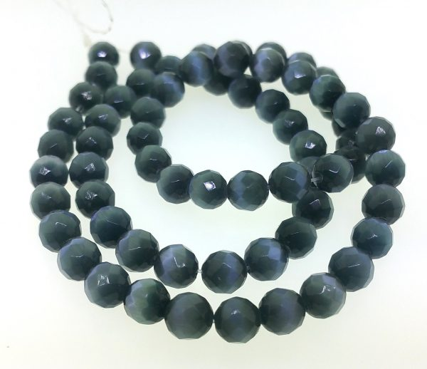 9503 - 8mm Round Faceted Cat's Eye - Black