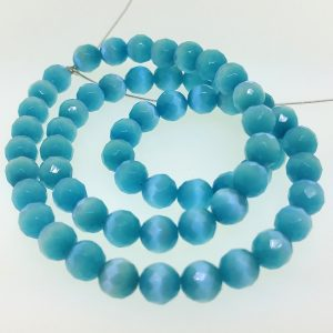 9503 - 8mm Round Faceted Cat's Eye - Turquoise