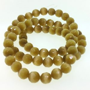 9503 - 8mm Round Faceted Cat's Eye - Brown