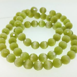 9503 - 8mm Round Faceted Cat's Eye - Lime