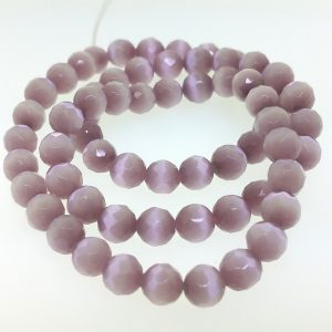 9503 - 8mm Round Faceted Cat's Eye - Light Amethyst