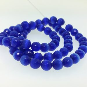 9503 - 8mm Round Faceted Cat's Eye - Sapphire