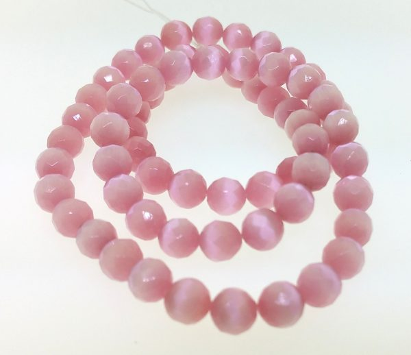 9503 - 8mm Round Faceted Cat's Eye - Pink