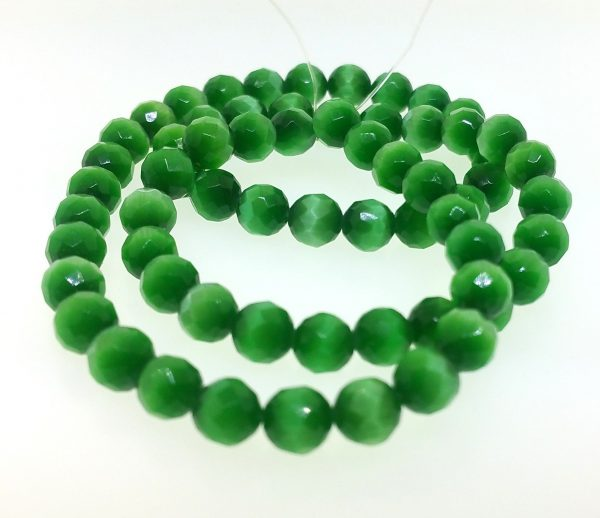 9503 - 8mm Round Faceted Cat's Eye - Green