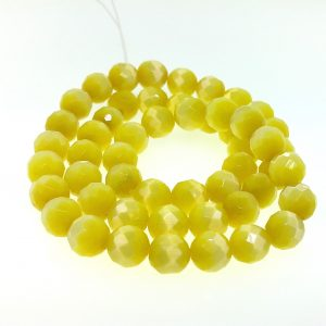 9503 - 8mm Round Faceted Cat's Eye - Light Yellow