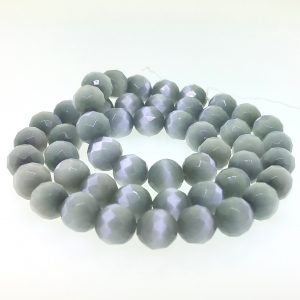9503 - 8mm Round Faceted Cat's Eye - Light Grey