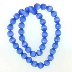 9504 - 10mm Round Faceted Cat's Eye - Light Sapphire