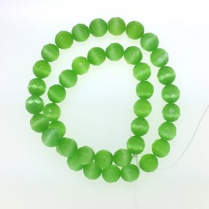9504 - 10mm Round Faceted Cat's Eye - Light Green