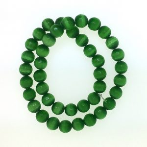 9504 - 10mm Round Faceted Cat's Eye - Green