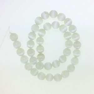 9504 - 10mm Round Faceted Cat's Eye - White