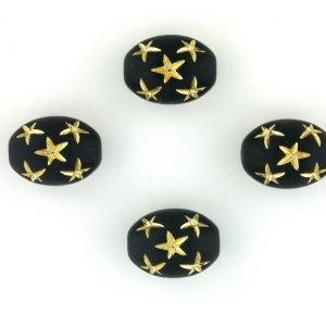 9021 - 13x10mm Gold Star Beads (Oval) - Black