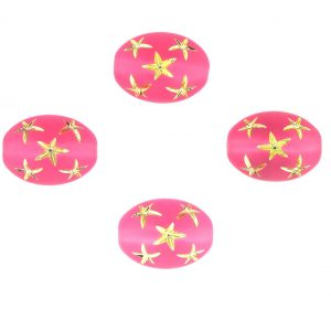 9021 - 13x10mm Gold Star Beads (Oval) - Pink