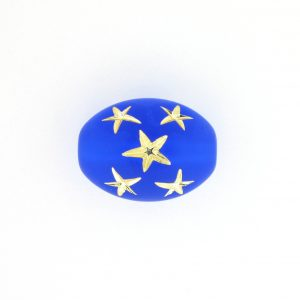 9023 - 16x13mm Gold Star Beads (Oval) - Sapphire