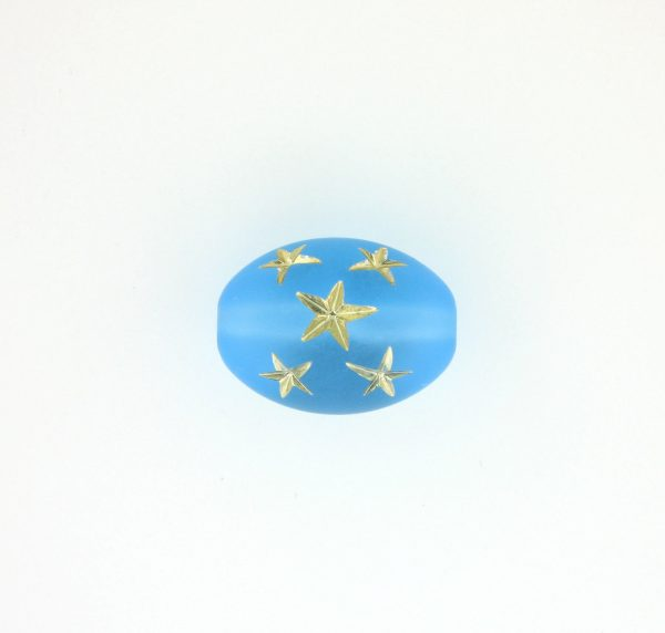 9023 - 16x13mm Gold Star Beads (Oval) - Aquamarine