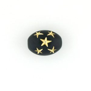9023 - 16x13mm Gold Star Beads (Oval) - Black
