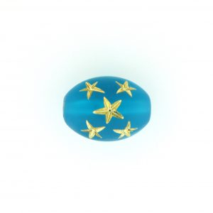 9023 - 16x13mm Gold Star Beads (Oval) - Blue Zircon