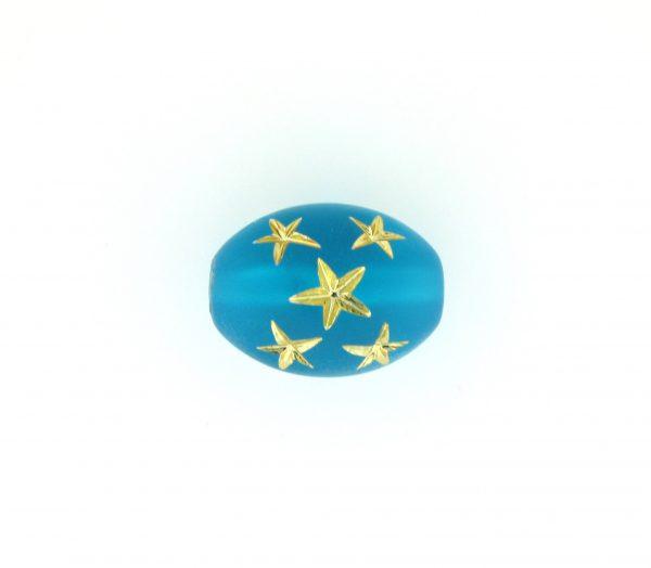 9023 - 16x13mm Gold Star Beads (Oval) - Blue Zircon