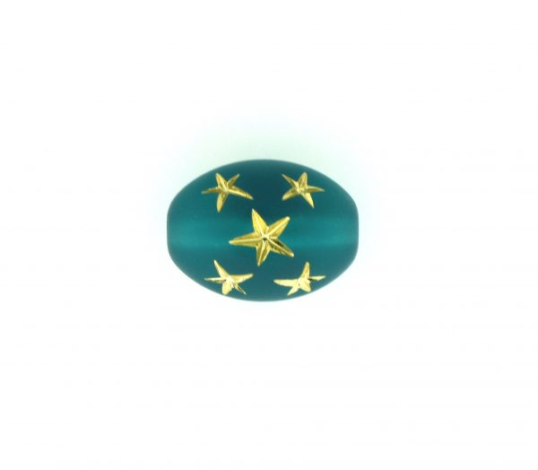 9023 - 16x13mm Gold Star Beads (Oval) - Emerald