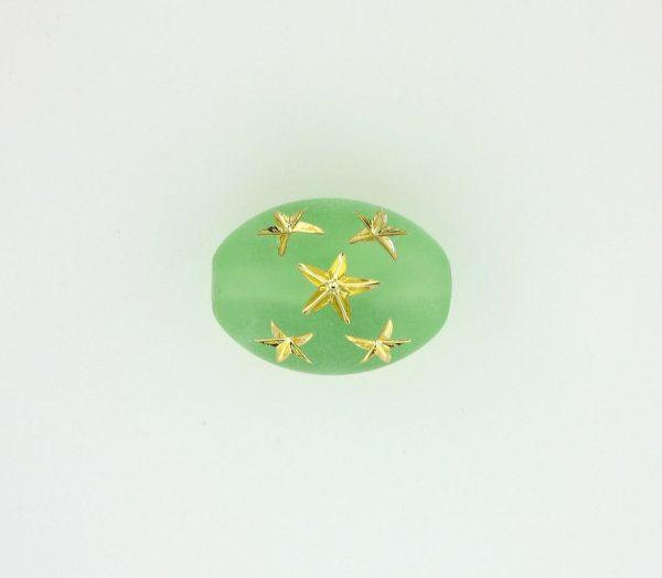 9023 - 16x13mm Gold Star Beads (Oval) - Peridot