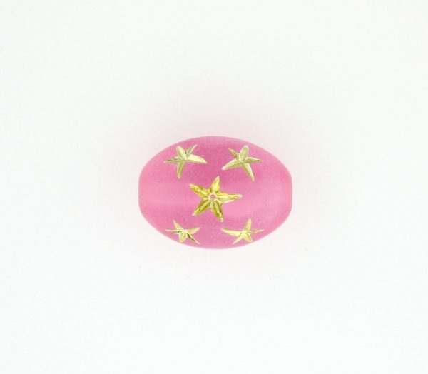 9023 - 16x13mm Gold Star Beads (Oval) - Pink
