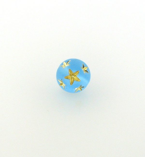 9020 - 10mm Gold Star Beads (Round) - Aquamarine