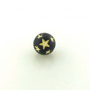 9020 - 10mm Gold Star Beads (Round) - Black
