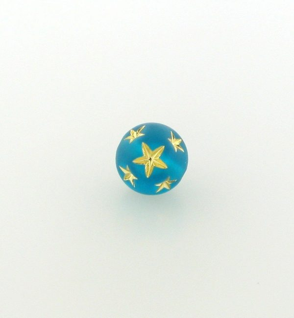 9020 - 10mm Gold Star Beads (Round) - Blue Zircon