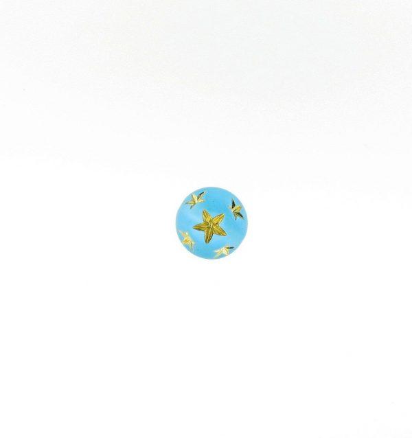 9019 - 8mm Gold Star Beads (Round) - Aquamarine