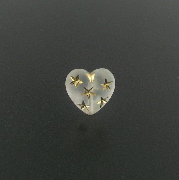 9555 - 14mm Gold Star Beads (Heart) - Frosty