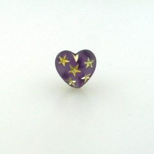 9555 - 14mm Gold Star Beads (Heart) - Amethyst