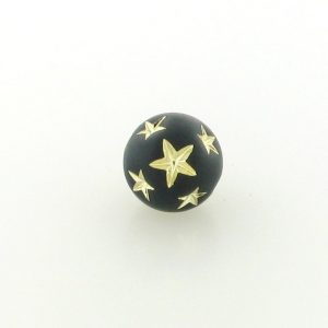 9557 - 14mm Gold Star Beads (Round) - Black