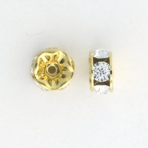 3607 - 7mm Swarovski Rhinestone Gold Plated - Crystal