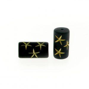 9560 - 9x16mm Gold Star Tube Bead - Black