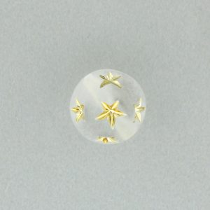 9557 - 14mm Gold Star Beads (Round) - Frosty