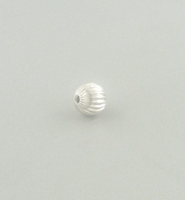 577 - 9mm Sterling Silver Corrugated Round Bead