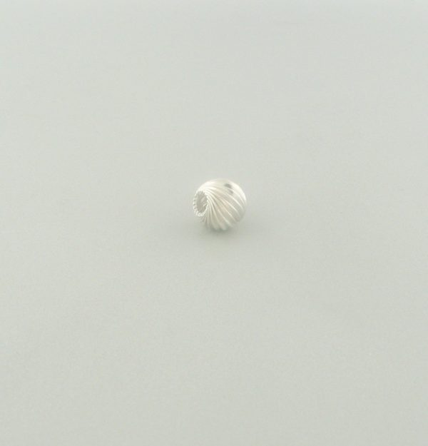 584 - 4mm Sterling Silver Twisted Corrugated Round Bead