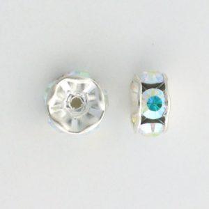 3607S - 7mm Swarovski Rhinestone Silver Plated - Crystal AB