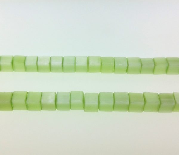 "9508 - 3x3mm Square Cat's Eye Beads (16""Strand) - Light Green"