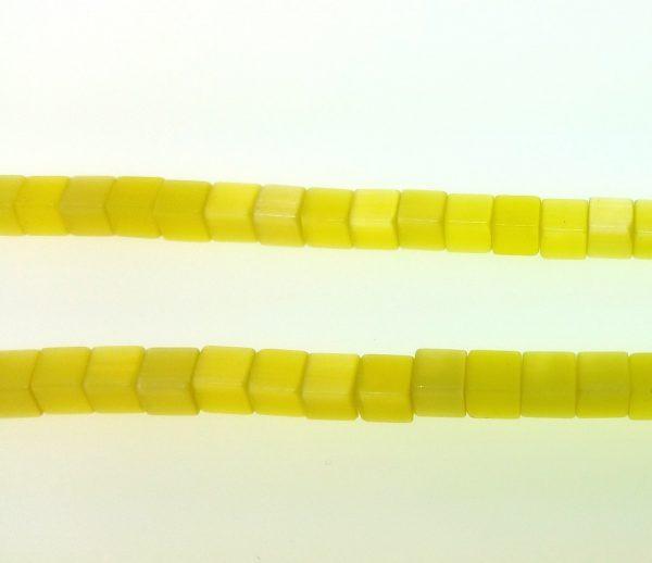 """9508 - 3x3mm Square Cat's Eye Beads (16"""" Strand) - Yellow"""