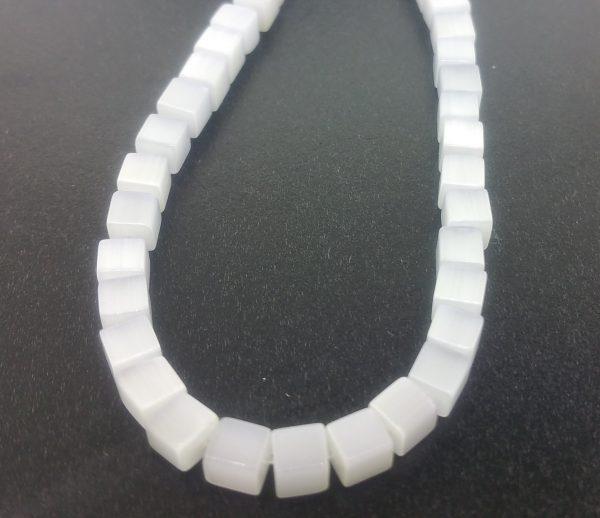 "9508 - 3x3mm Square Cat's Eye Beads (16"" Strand) - White"