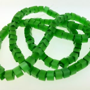 "9508 - 3x3mm Square Cat's Eye Beads (16"" Strand) - Green"