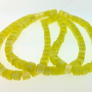 "9508 - 3x3mm Square Cat's Eye Beads (16"" Strand) - Light Yellow"