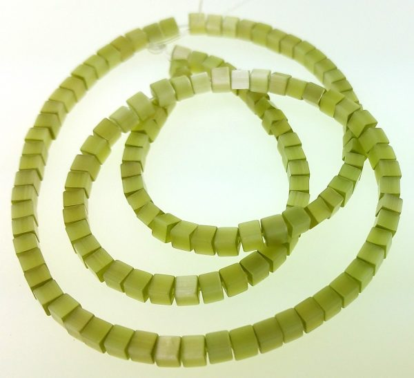 """9508 - 3x3mm Square Cat's Eye Beads (16""""Strand) - Lime"""