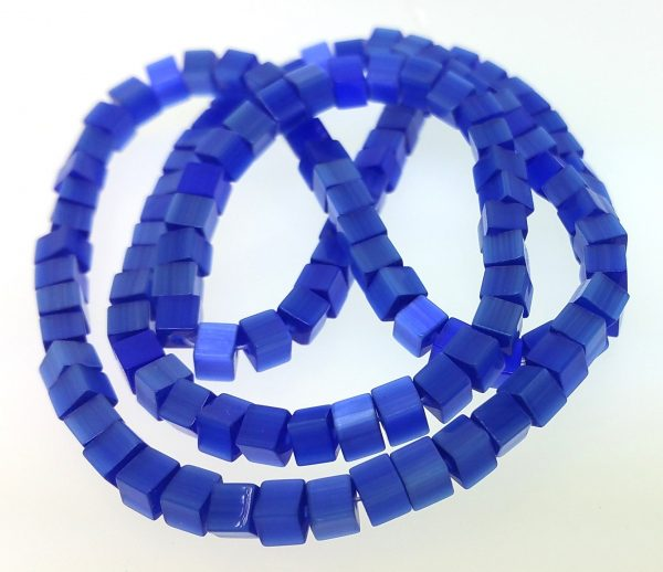 "9508 - 3x3mm Square Cat's Eye Beads (16"" Strand) - Sapphire"