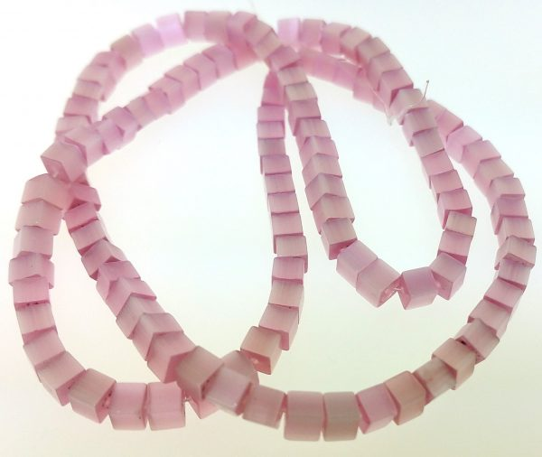 """9508 - 3x3mm Square Cat's Eye Beads (16"""" Strand) - Pink"""