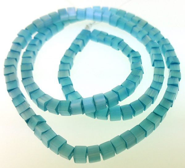 """9508 - 3x3mm Square Cat's Eye Beads (16"""" Strand) - Turquoise"""