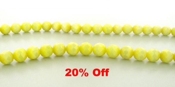9504 - 10mm Round Faceted Cat's Eye - Light Yellow