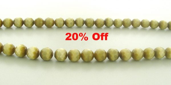 9504 - 10mm Round Faceted Cat's Eye - Smoke Topaz